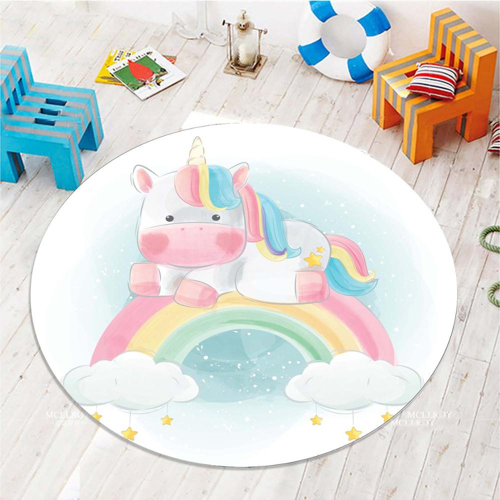 Else Collored Rainbow On Unicorn Horse 3d Pattern Print Anti Slip Back Round Carpets Area Rug For Kids Baby Children Room