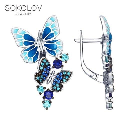 SOKOLOV boucles d'oreilles goutte avec des pierres avec des pierres avec des pierres avec des pierres d'argent et émail avec zircon cubique vert et bleu bijoux de mode 925 femme homme