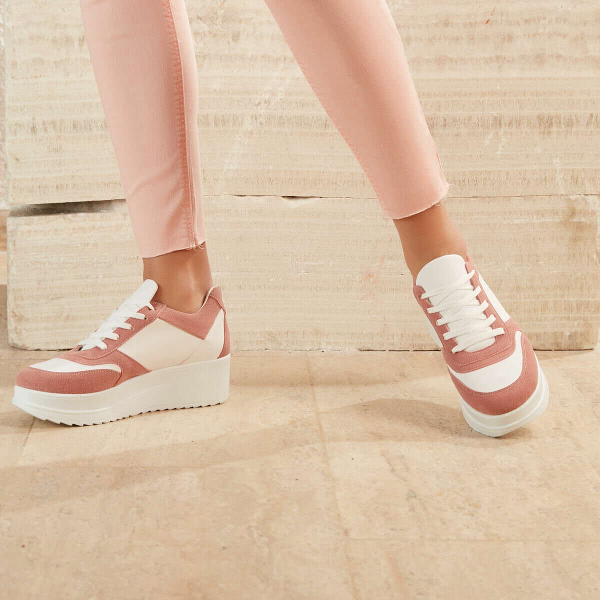 FLO Pink Women Sneaker Shoes Women Zapatos Mujer 2020 Fashion Women Sneakers Casual Shoes Tenis Feminino Comfy Shoes Ladies Lace Up Trainers BUTIGO SIMKA04Z
