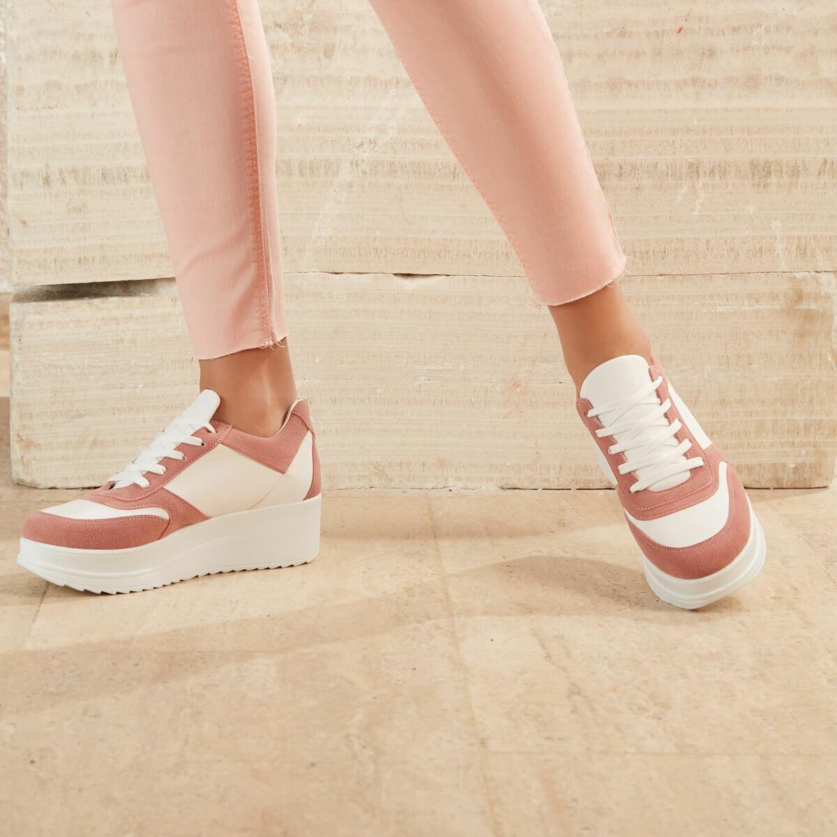 FLO Pink Women Sneaker Shoes Women Zapatos Mujer 2020 Fashion Women Sneakers Casual Shoes Tenis Feminino Comfy Shoes Ladies Lace Up Trainers BUTIGO SIMKA04Z
