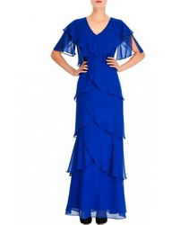 Dress The Muse®Long layered pleated straight Long Dresses for woman color blue elegant for stepping out be night 2020