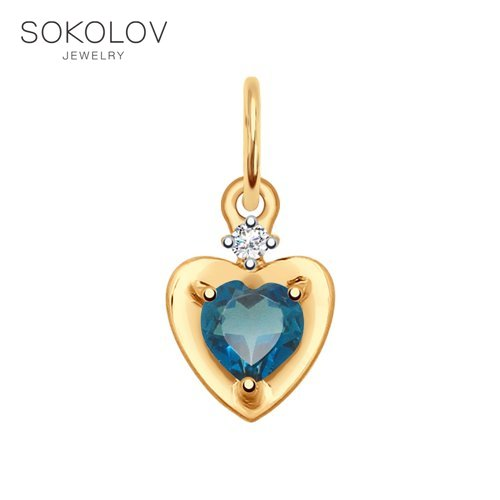 Pendant SOKOLOV Gold Blue Topaz And Cubic Zirconia Fashion Jewelry 585 Women's Male