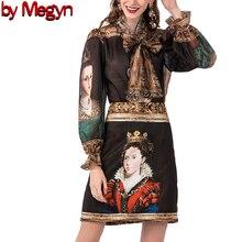 2020 kadın moda pist elbise İlkbahar yaz kadın seti kraliçe prainting vintage gömlek mini etek eşleştirme moda seti