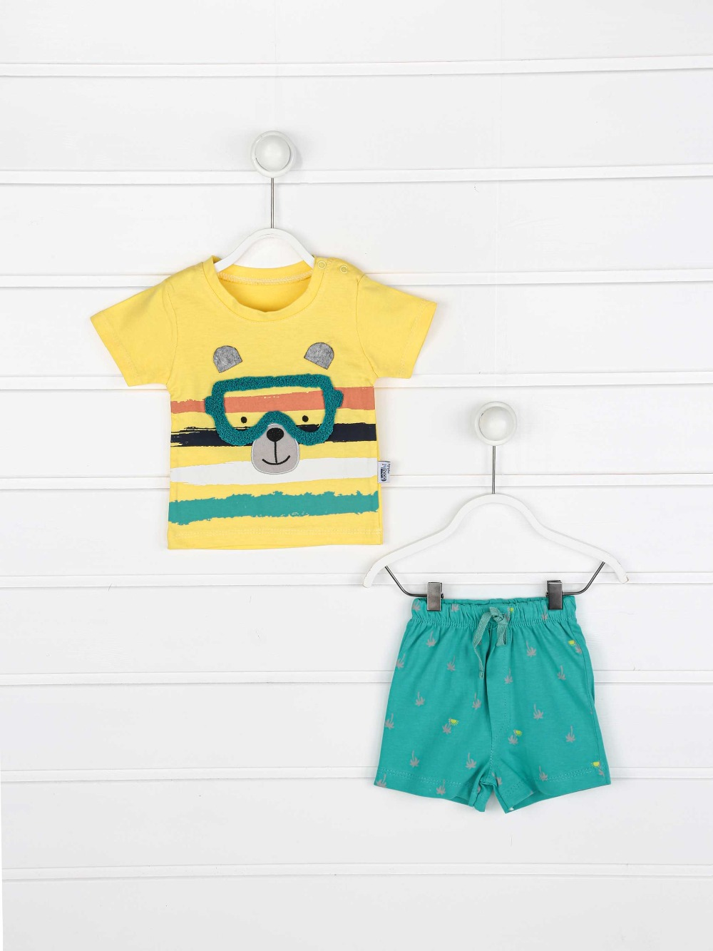 082-2223-001 Sarı Erkek Bebek Şortlu Takım (1)