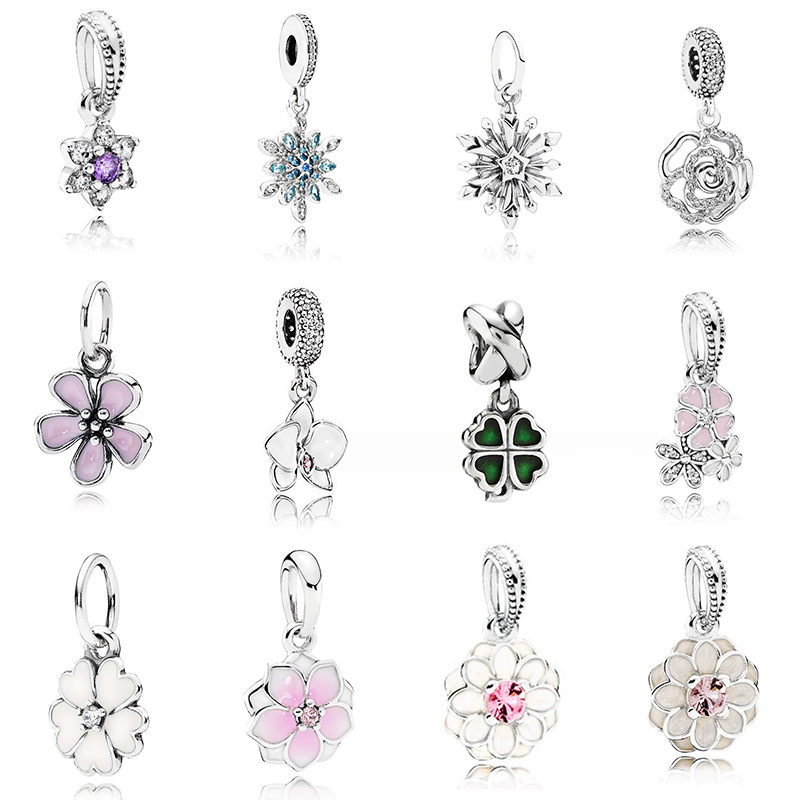 2020 New High Quality 100% 925 Sterling Silver Flower Charm With Clear Cz For Original Diy Bracelet Pendant Authentic Jewelry