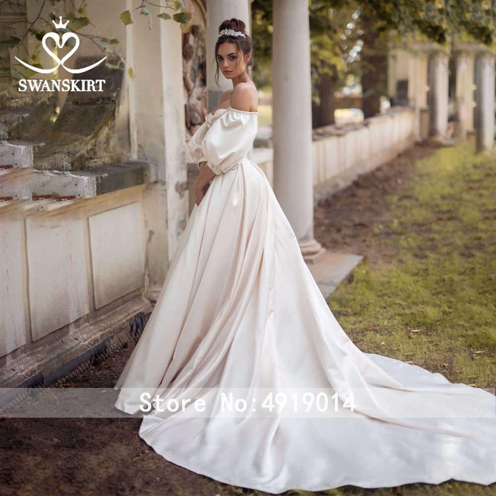 Vintage Perlen Satin Hochzeit Kleid Swanskirt Schatz Puffy Sleeve A-Line Zug Brautkleid Prinzessin Vestido De Noiva RA01