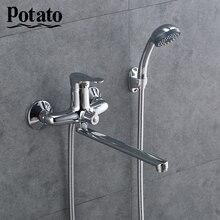 Potato Faucet Shower Bath Shower Faucet Set Zinc Alloy Body Shower Head Bathroom Tap chrome Bathtub Outlet pipe p22214