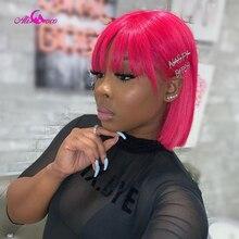 Ali Coco розовые, розовые, зеленые прямые полные машинные короткие парики, бразильские Прямые вырезанные искусственные волосы с челкой