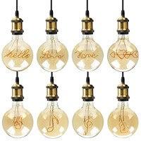 특별 한 g125 새로운 디자인 사랑 led 에디슨 전구 나선형 빛 앰버 레트로 절약 램프 빈티지 필 라 멘 트 거품 공 전구 e27 빛