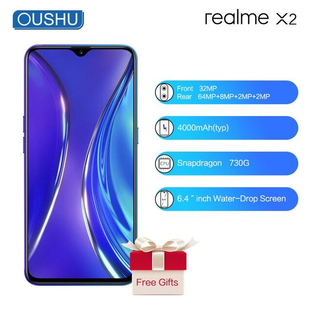 OPPO Realme X2 X2 6.4 워터 드롭 스크린 Snapdragon730G NFC Celular 4000mAh 빅 배터리 64MP 쿼드 카메라 Super VOOC Smartphone