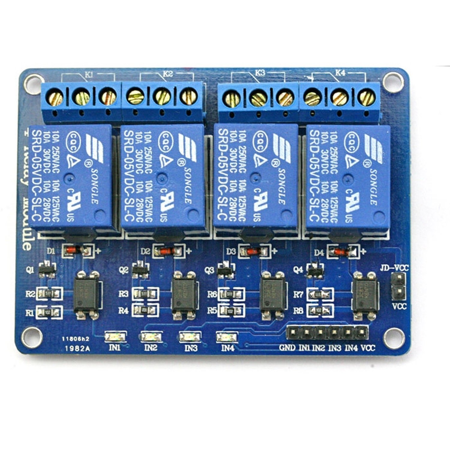 4-Channel 5V Relay Module for Arduino DSP AVR PIC ARM [Arduino Compatible] relay shield v1 0 5v 4 channel relay module for arduino works with official arduino boards