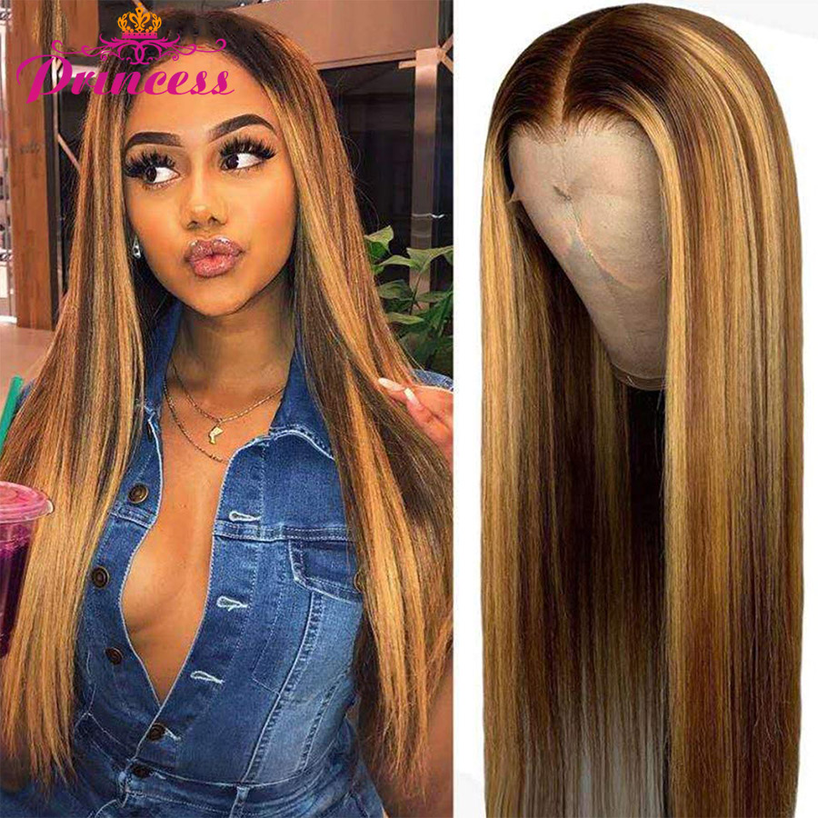 Princess Highlight Lace Front Human Hair Wigs Honey Blonde Preplucked Brazilian Straight Lace Front Wig Remy Human Hair Wigs