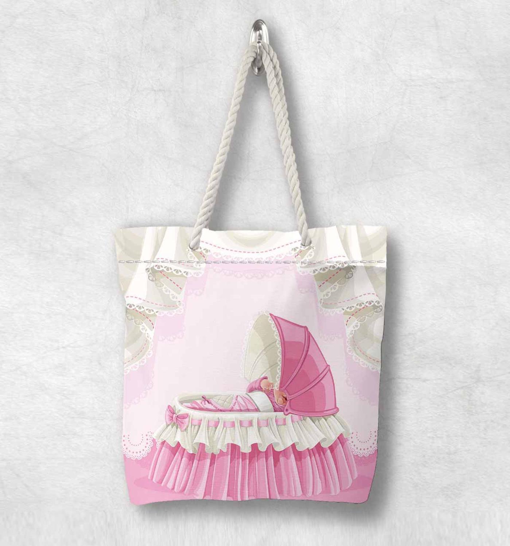 Başka bir pembe beyaz küçük bebek beşiği yeni moda beyaz halat kolu kanvas çanta karikatür baskı fermuarlı Tote çanta omuzdan askili çanta