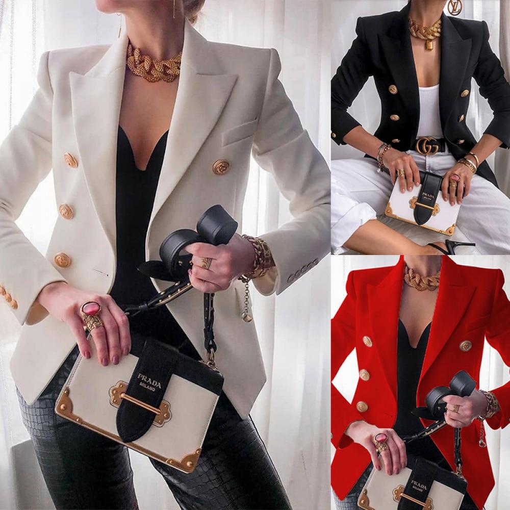 New 2020 Autumn Winter Women Blazers Coat Solid Long Sleeve Double Breasted Suit Coat Female Fashion Casual Slim Blazers Women
