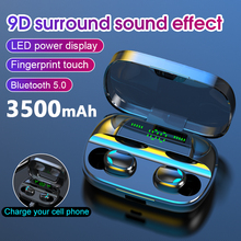 HKFZ Bluetooth 5.0 Wireless Earphone TWS Headphones Touch Control Earbuds 9D Ste