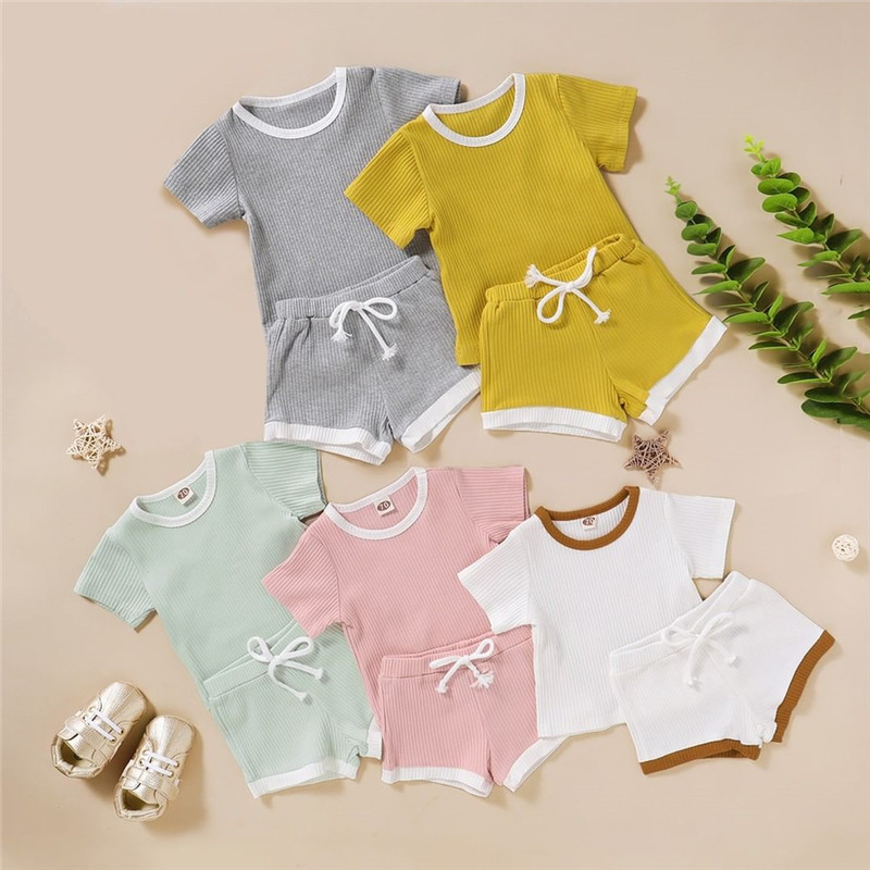 2020 Toddler Baby Boys Girls Summer Clothing Newborn Kids Baby Girls Ribbed Knitted Short Sleeve T-shirts+Shorts Tracksuits Sets