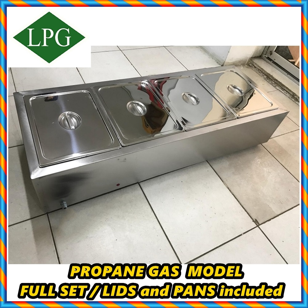 PROPANE GAS GN 1/1 4x PANS And 4x LIDS INCLUDED FULL SET Commercial Catering Bain Marie Buffet Countertop Food Warmer Steamer