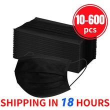 10/20/30/40/50/100/200/300/400/500/600 pces máscara protetora descartável preta 3ply orelha loop adulto ajustável máscara de boca preta