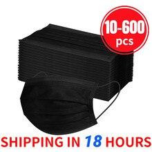 10/20/30/40/50/100/300/400/500/600 pçs preto máscara protetora descartável 3ply orelha loop adulto ajustável máscara boca preta 12h grátis