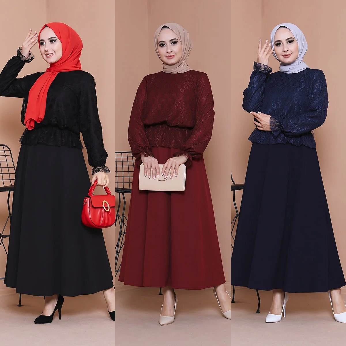 2 Pcs Women Sets Long Skirts and Lace Tops Tunic Muslim Fashion Ramadan Double Suit Dresses Hijab Turkey Abayas Islamic Clothing