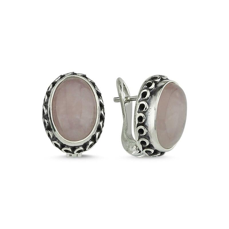 Silver 925 Sterling Pink Quartz Stone Handwork Earrings