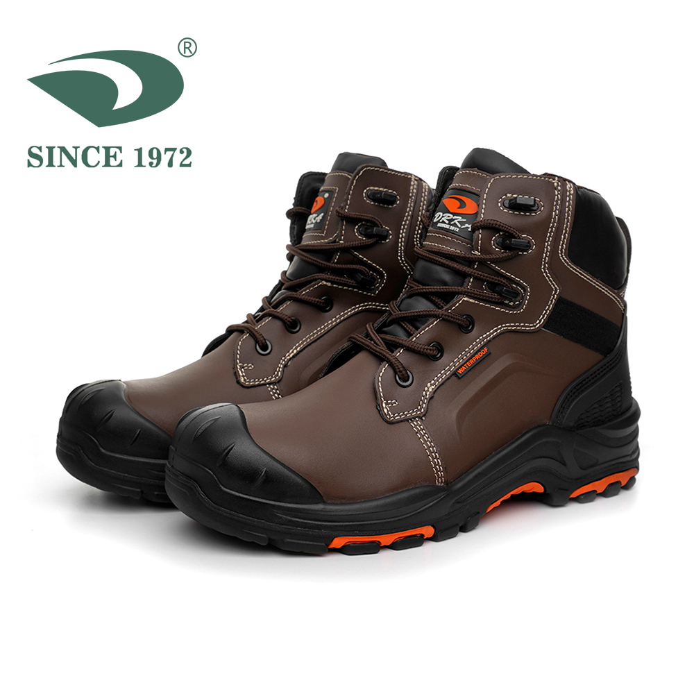 Men's Steel Toe Shoes Waterproof Boots Men Safety Shoes Men Boots Genuine Leather Men Shoes image