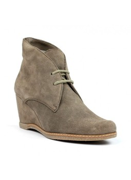 Ankle boots split leather taupe. pv5