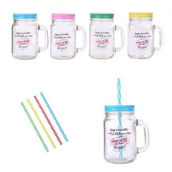 Lot 30 glass Jars with Cane phrases spot Colour-Details and gifts for weddings, christening suits, communions, birthday and holiday.