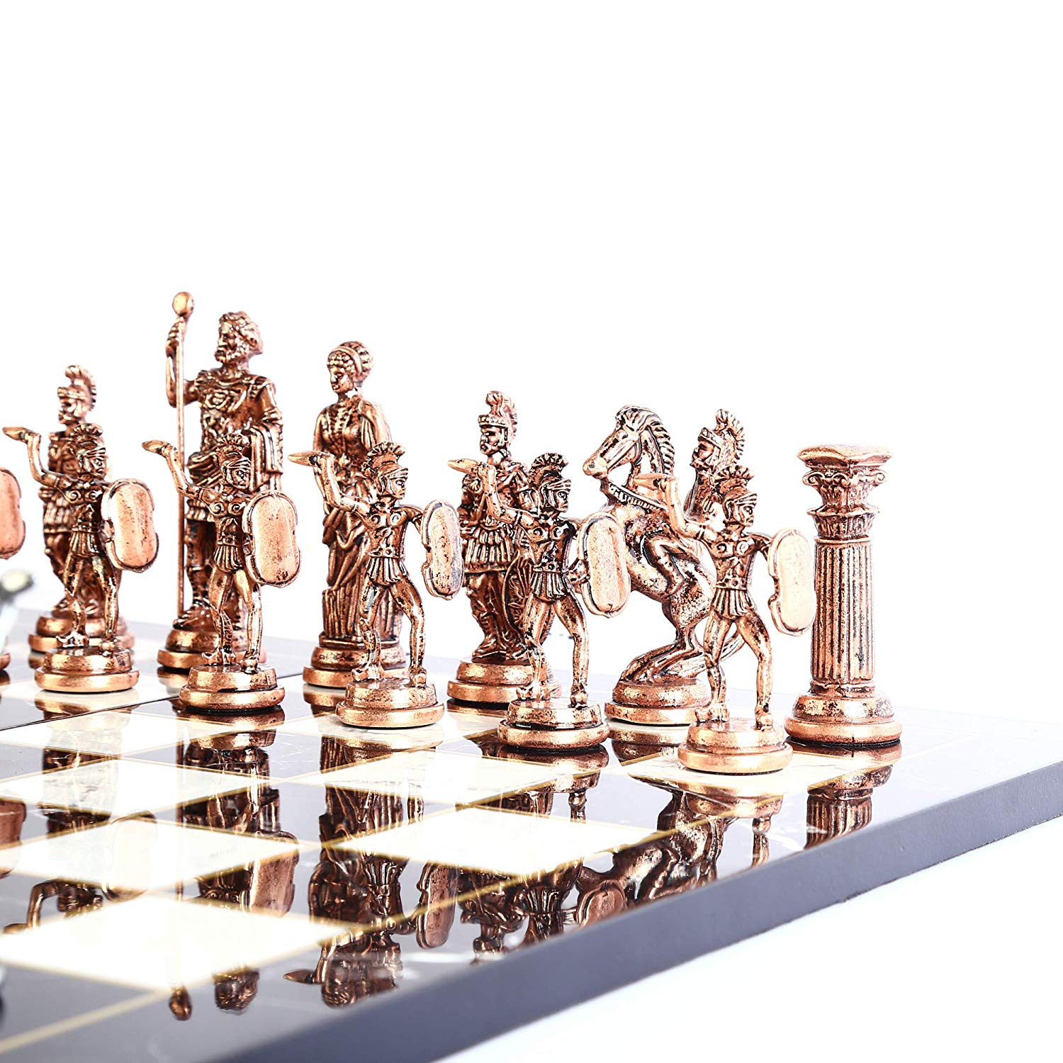 Historical Antique Copper Rome Figures Metal Chess Set for Adult,Handmade Pieces and Marble Design Wood Chess Board King 11 cm 3
