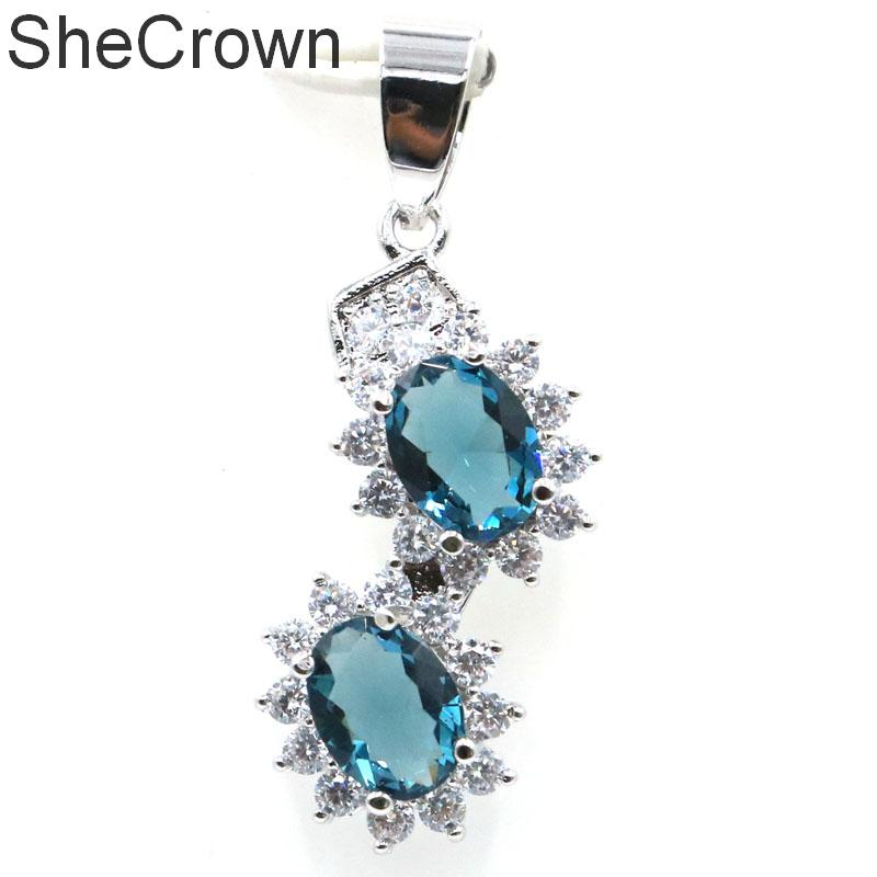34x13mm Hot Sell Dark London Blue Topaz White CZ SheCrown Gift For Girls Silver Pendant