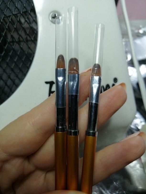 3 Size Nail Art Gold Round Top Painting Brush Set Gel Polish Tips Extending Coating 3D Petal Flower DIY Drawing Shaping Pens Kit reviews №2 124357