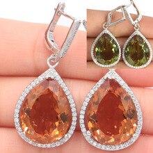цена на 43x19mm Big 17g Water Drop 20x15mm Created Color Change Spinel CZ Gift Girls Silver Earrings