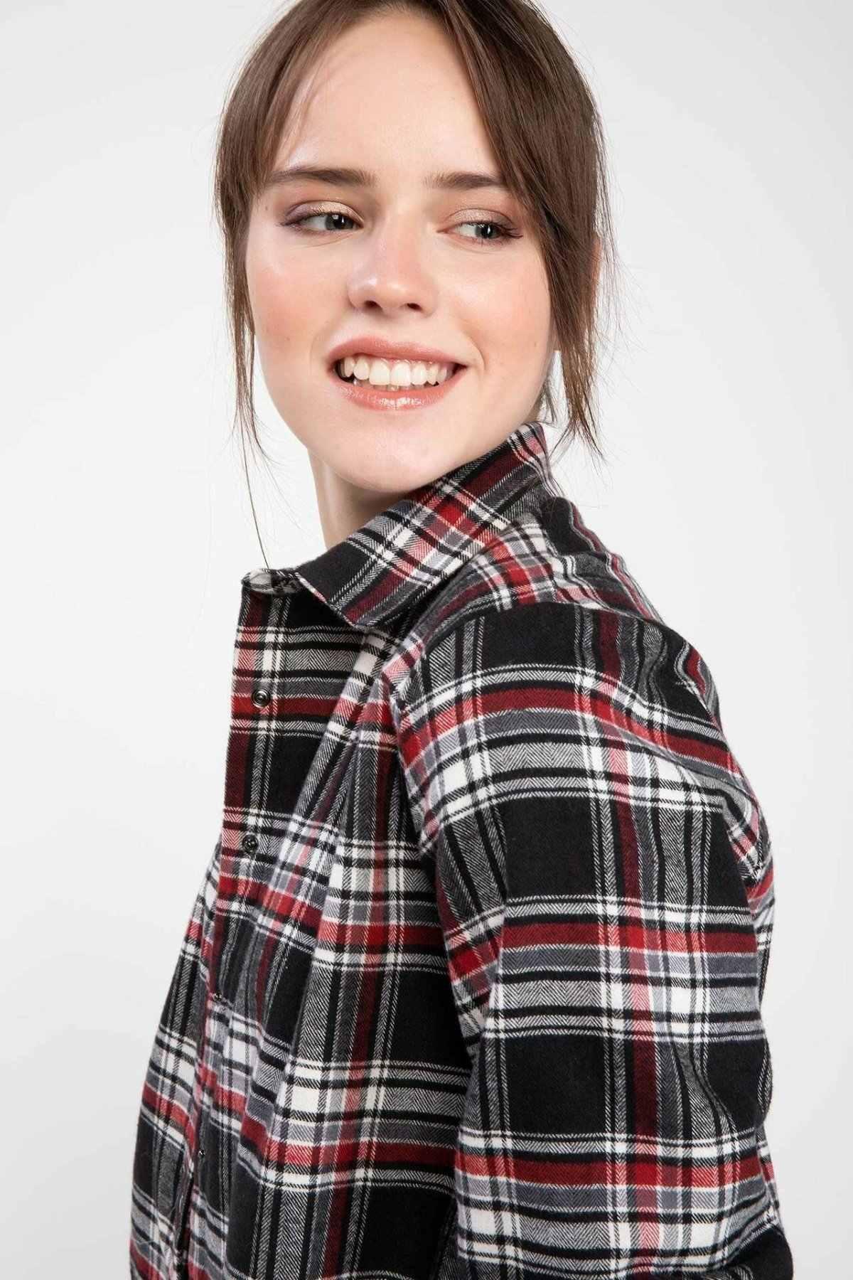 DeFacto Весна Осень Черный Красный Клетчатая Рубашка классическая сетка узор с длинным рукавом женский хлопковый топ рубашка Autumn-I9768AZ18AU-I9768AZ18AU
