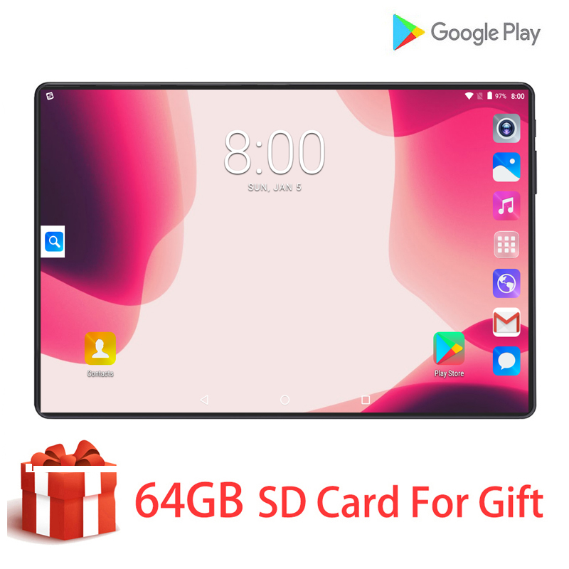 New 10 Inch Tablets Android 9.0 MTK Octa Core 6GB RAM 128GB ROM 3G 4G LTE Wifi GPS Phone Call Glass Screen 10.1 Tablet Pc