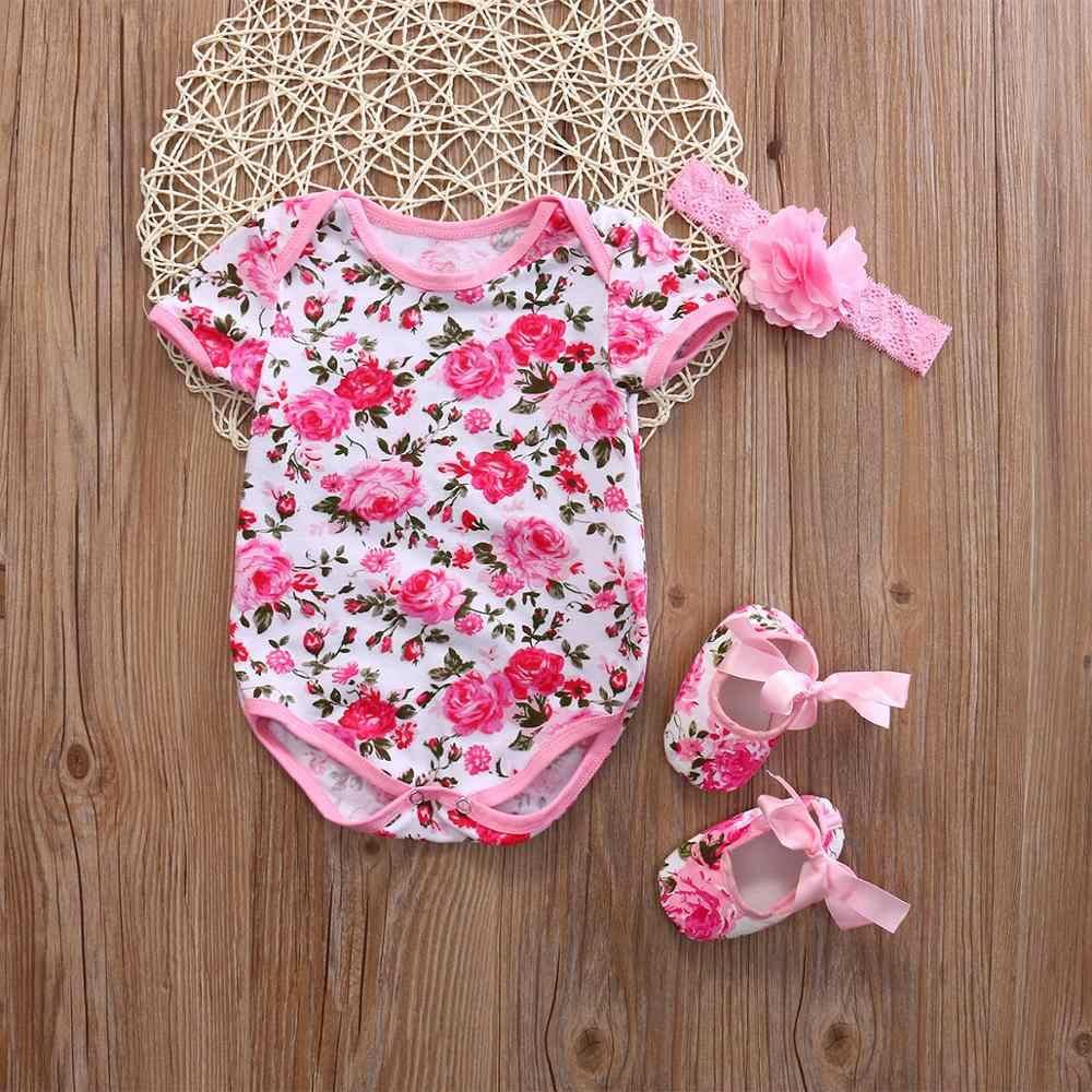 2020 יילוד תינוקת Romper סרבל נעל גומייה לשיער 3Pcs פרחוני Leopard תלבושות סט בגדי קיץ יילוד תינוקת בגדים