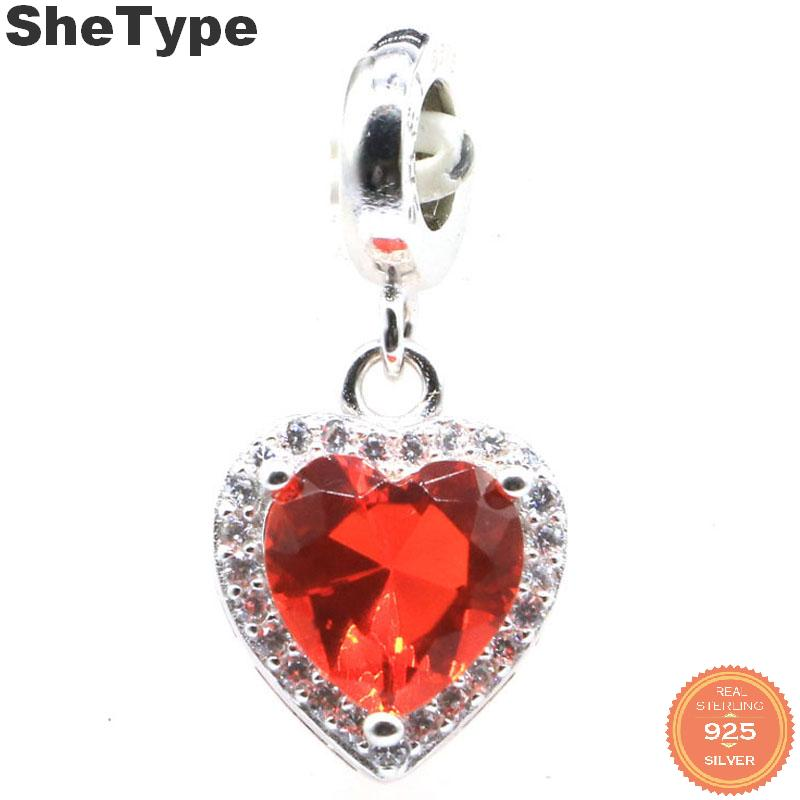 22x12mm 2.5g Luxury Heart Created Orange Spessartine Garnet Blue Topaz CZ Gift For Sister 925 Solid Sterling Silver Pendant