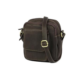 Маленькая сумка из мягкой натуральной кожи для документов с плечевым ремнем Bufalo SMJ-06