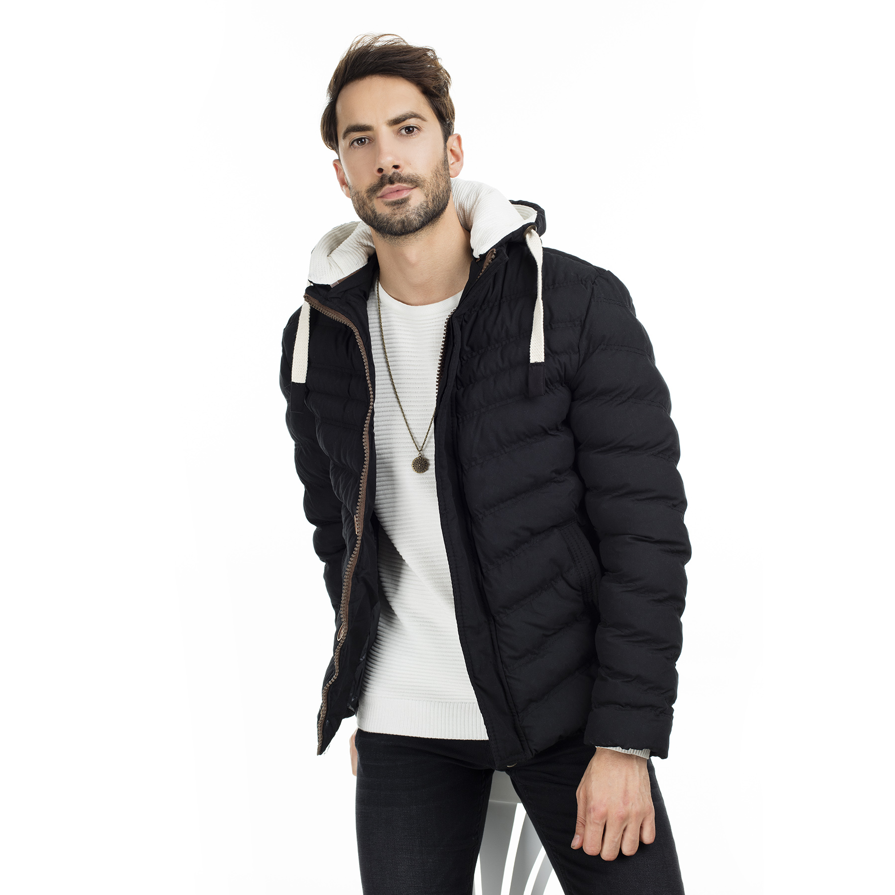 Buratti Slim Fit Men Hooded Coat High Quality Men's Wool Jacket Luxurious Brand Clothing 55618 K5071