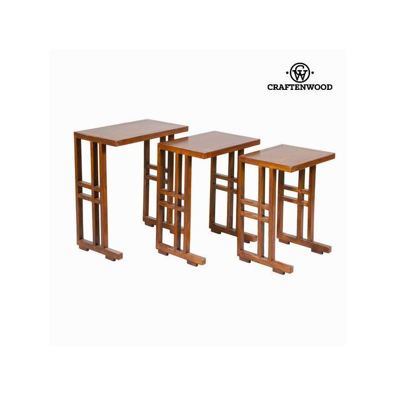 Set Of 3 Nesting Tables Brown-Collection Serious Line By Craftenwood