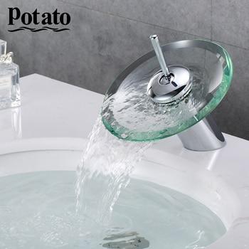 цена на Potato High Quality Brass Circle Waterfall Glass Bathroom Basin Mixer Tap Vessel Chrome Polished Finish Faucet Sink p1094