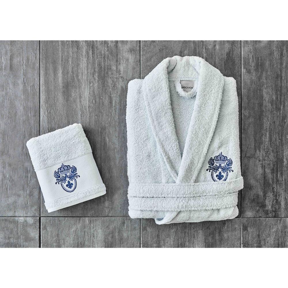 Karaca Home Brian Daily Blue Embroidered Men's Bathrobe Set 100% Cotton