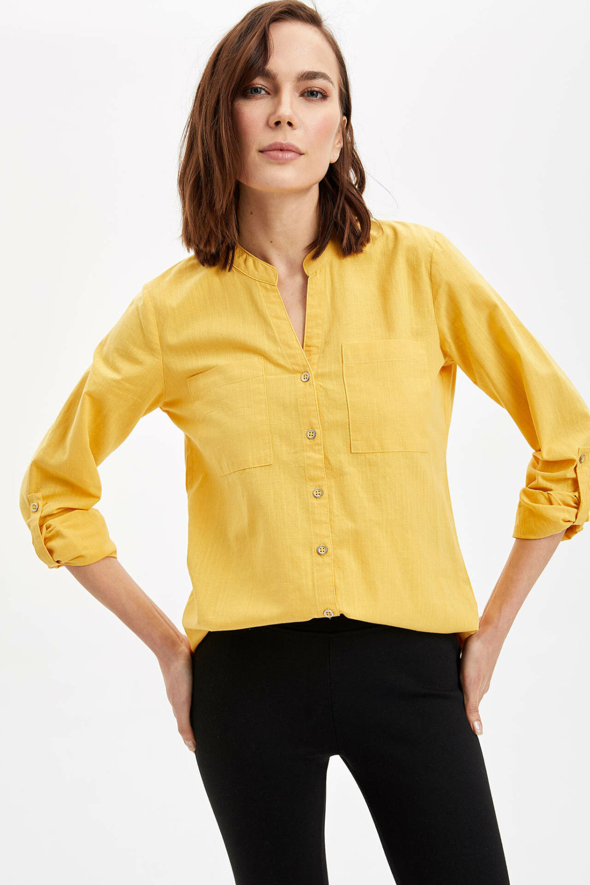 DeFacto Woman Spring Bright Yellow Top Shirts Women V-neck Shirts Female Pocket Long Sleeve Shirt-L6492AZ20SP