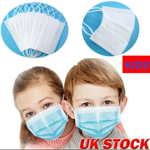 10pcs Children 3-Ply Disposable White Face Masks  Anti Dust Mouth Masks 3 Layers Anti-Flu Kids Boys Girls Ear Loop