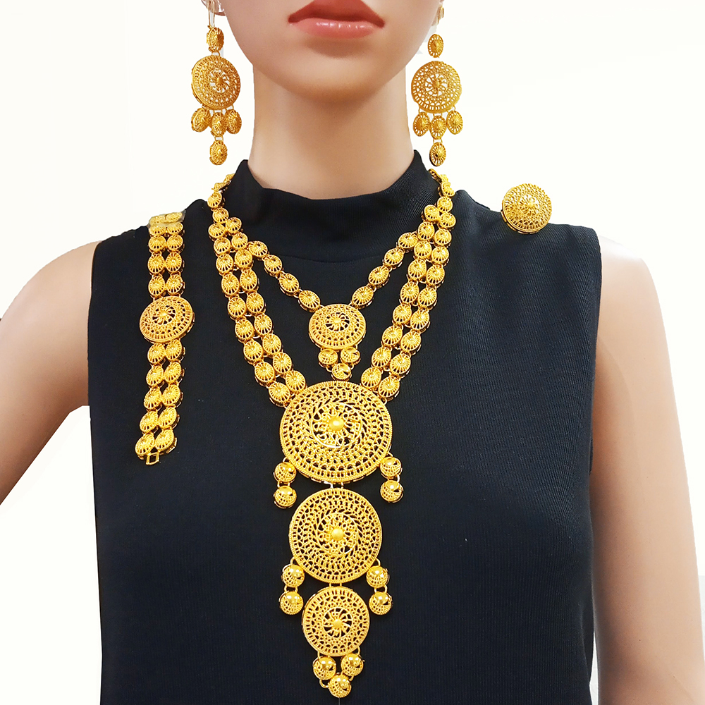 big gold jewelry sets Indian gold necklace jewelry for women African wedding gift luxry high quality accessories BJW21(China)