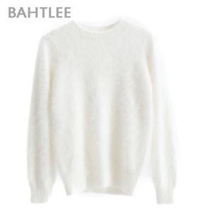 Image 5 - BAHTLEE Women Angora Pullovers Sweater Pure Color  Autumn Winter Wool Knitted Jumper Long Sleeves O Neck Suit Style Basic Style