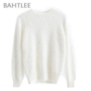 Image 5 - BAHTLEE kobiety Angora swetry sweter Pure Color jesień zima wełna sweter z dzianiny długie rękawy O Neck garnitur styl podstawowy styl