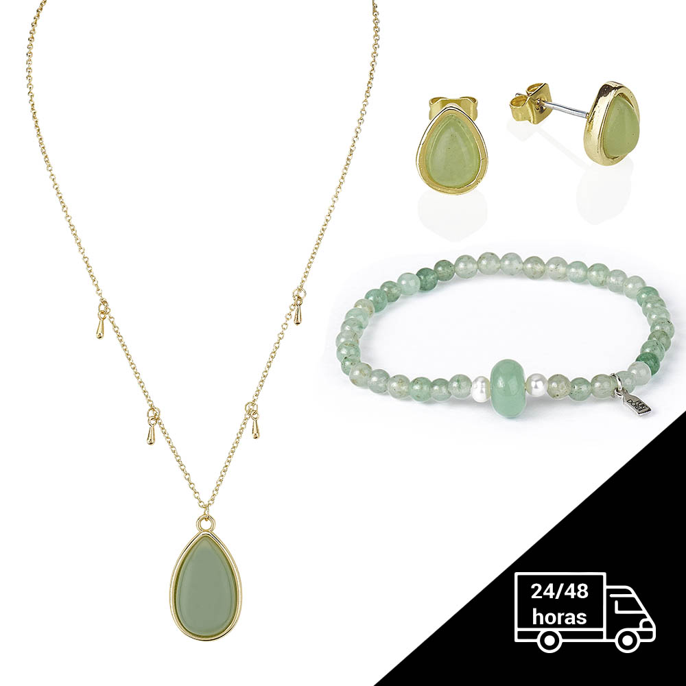 Chain Bracelet, Necklace And Earrings Aventurine -  Jewelry Pack