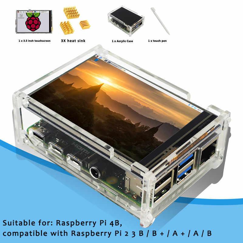 ل التوت بي 4B التوت بي 3 نموذج B 3.5 بوصة تعمل باللمس شاشة عرض 480x320 LCD كيت مع خافضات