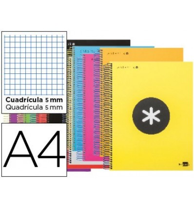 SPIRAL NOTEBOOK LIDERPAPEL A4 MICRO ANTARTIK LINED CAP 120H 100 GR CUADRO5MM 5 BANDS 4 DRILLS COLORS ASSORTED S 12 United
