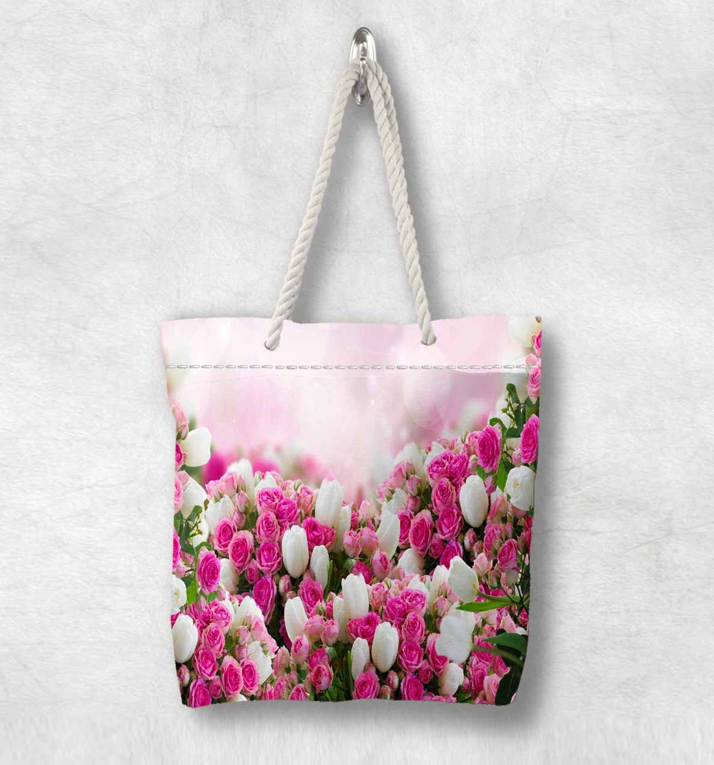 Else Pink White Tulips Roses Flower Floral New Fashion White Rope Handle Canvas Bag Cotton Canvas Zippered Tote Bag Shoulder Bag